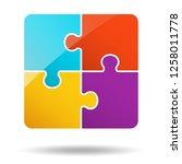 4 pieces puzzle design | Shutterstock .eps vector #1258011778