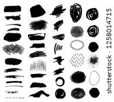 set. black brush strokes  spots ... | Shutterstock .eps vector #1258014715