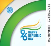 happy indian republic day with... | Shutterstock .eps vector #1258017358