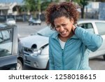 painful neck ache after fender...   Shutterstock . vector #1258018615