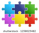 6 pieces puzzle design material | Shutterstock .eps vector #1258025482