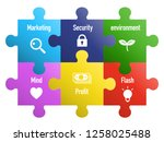 6 pieces puzzle business icon | Shutterstock .eps vector #1258025488