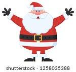 santa claus cartoon mascot... | Shutterstock . vector #1258035388