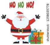 santa claus cartoon mascot... | Shutterstock . vector #1258035778