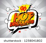 hot discounts sale banner  pop... | Shutterstock . vector #1258041802