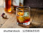old fashioned  whiskey drink... | Shutterstock . vector #1258065535