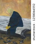 lonely old woman in coat sits... | Shutterstock . vector #1258066552
