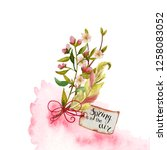 watercolor spring bouquets with ... | Shutterstock . vector #1258083052