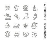 christmas related icons  thin... | Shutterstock .eps vector #1258088875