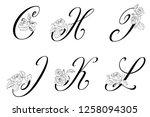vector  floral uppercase... | Shutterstock .eps vector #1258094305