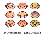 vector set of cartoon sick... | Shutterstock .eps vector #1258095385