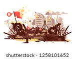 barricades erected by the... | Shutterstock .eps vector #1258101652