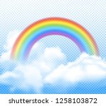 realistic bright rainbow with... | Shutterstock .eps vector #1258103872
