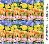 pattern with hand drawn... | Shutterstock . vector #1258117012