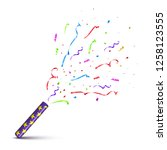 violet tube with exploding... | Shutterstock . vector #1258123555