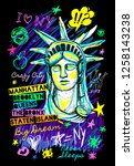 new york city statue of liberty ... | Shutterstock .eps vector #1258143238