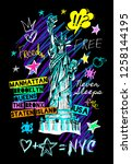 new york city statue of liberty ... | Shutterstock .eps vector #1258144195