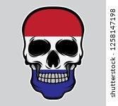 nederland flag head skull ... | Shutterstock .eps vector #1258147198