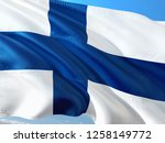 flag of finland waving in the... | Shutterstock . vector #1258149772