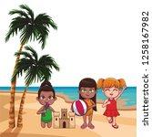 summer kids cartoon | Shutterstock .eps vector #1258167982