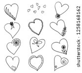set of heart shapes. hand drawn ... | Shutterstock .eps vector #1258168162