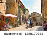 Small photo of Spain, Girona, Pals, August 2017 tourism in the picturesque village of Pals, characterized by cobbled streets, beautiful stone houses with Gothic windows, and medieval towers
