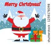 jolly santa claus cartoon... | Shutterstock . vector #1258178398