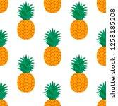 pineapple on white background.... | Shutterstock .eps vector #1258185208