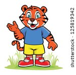 little tiger with smiling face | Shutterstock .eps vector #125819342