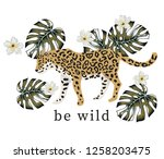 tropical leopard animal  green... | Shutterstock .eps vector #1258203475