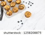 homemade blueberry muffins on... | Shutterstock . vector #1258208875