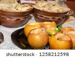 baked sweet apples with... | Shutterstock . vector #1258212598