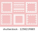 set of white lace framework of... | Shutterstock . vector #1258219885