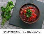 beet soup in a bowl. fresh...   Shutterstock . vector #1258228642
