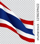 thailand flag wavy  isolated on ... | Shutterstock .eps vector #1258239622
