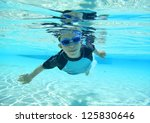 Underwater Shot Of Boy Swimming