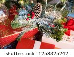 christmas tree decoration with... | Shutterstock . vector #1258325242