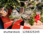 christmas tree decoration with... | Shutterstock . vector #1258325245