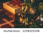 christmas tree decoration with... | Shutterstock . vector #1258325248