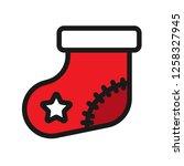 christmas sock icon. sock...   Shutterstock .eps vector #1258327945