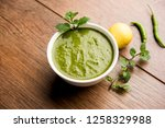healthy green mint chutney made ...   Shutterstock . vector #1258329988