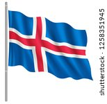 flag of iceland with flag pole... | Shutterstock .eps vector #1258351945