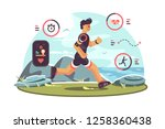 sports apps for fitness. man... | Shutterstock .eps vector #1258360438