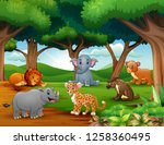 animals cartoon are enjoying... | Shutterstock .eps vector #1258360495