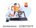 cartoon boy running on... | Shutterstock .eps vector #1258372075