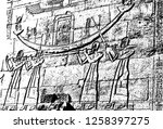 realistic egyptian hieroglyphs...   Shutterstock .eps vector #1258397275