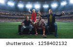 group of fans are watching a... | Shutterstock . vector #1258402132