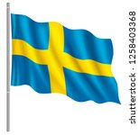flag of sweden with flag pole... | Shutterstock .eps vector #1258403368