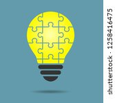 puzzle light bulb   Shutterstock .eps vector #1258416475