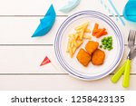 small kid's meal   fish  chips  ... | Shutterstock . vector #1258423135